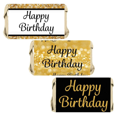 Black and Gold Happy Birthday Party Mini Candy Bar Stickers - 45 Count
