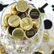 Black and Gold Retirement Party Favor Stickers on Shiny Foil - 180 Count