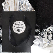 Black and Silver 40th Birthday Thank You Stickers - 40 Labels