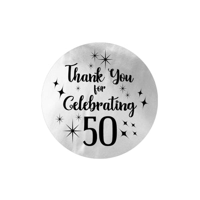 Black and Silver 50th Birthday Thank You Stickers - 40 Labels