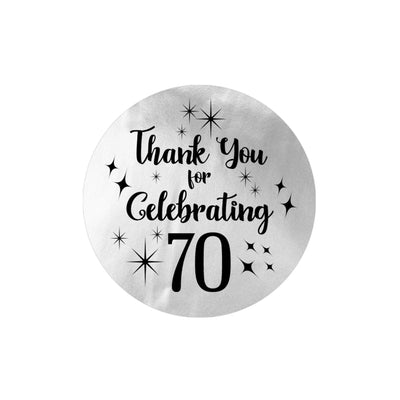 Black and Silver 70th Birthday Thank You Stickers - 40 Labels