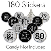 Black and Silver 80th Birthday Metallic Foil Party Favor Stickers - 180 Count