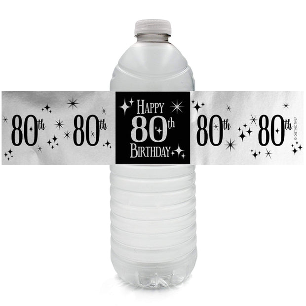 Black and Silver 80th Birthday Metallic Foil Water Bottle Labels, 24 Count