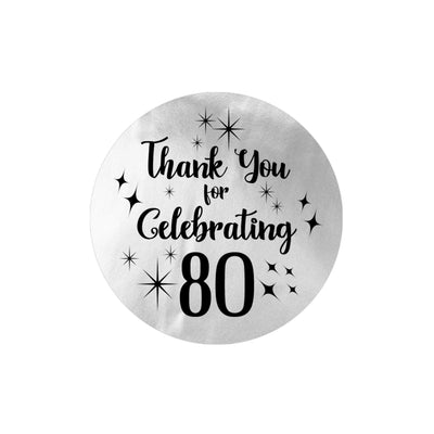 Black and Silver 80th Birthday Thank You Stickers - 40 Labels