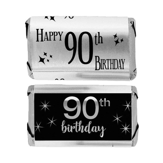 Black and Silver 90th Birthday Metallic Foil Mini Candy Bar Stickers - 45 Count