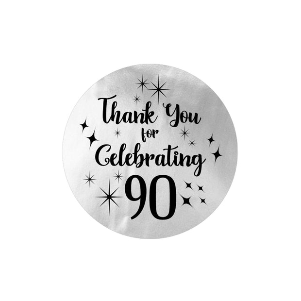 Black and Silver 90th Birthday Thank You Stickers - 40 Labels