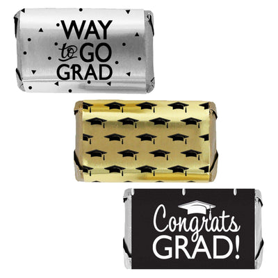 Black, Gold, Silver Graduation - Grad Party Mini Candy Bar Wrapper Pack - 45ct
