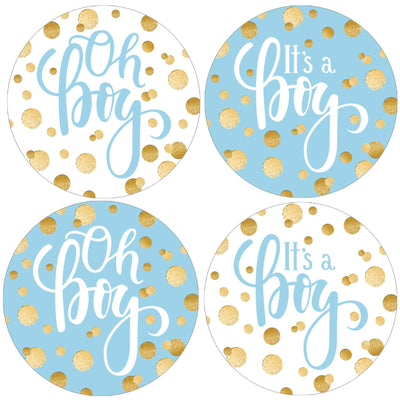 Blue and Gold Boy Baby Shower Round Labels - 40 Stickers