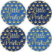 Blue and Gold Little Prince Baby Shower Favor Labels - 40 Stickers