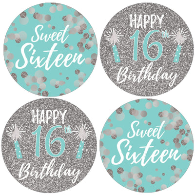 Blue and Silver Sweet Sixteen Party Round Labels - 40 Stickers