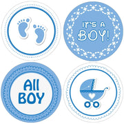 Blue It's a Boy Baby Shower Round Labels - 40 Stickers