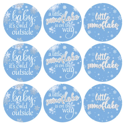 Blue Little Snowflake Winter Baby Shower Favor Stickers - Baby It's Cold Outside - 180 Labels