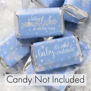 Blue Little Snowflake Winter Baby Shower Mini Candy Bar Wrappers - Baby It's Cold Outside - 45 Stickers