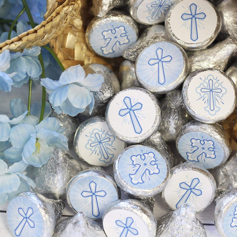 Blue Religious Cross Baptism Party Favor Stickers - 180 Count