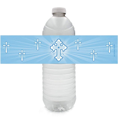 Blue Religious Cross Baptism Party Water Bottle Labels - 24 Count