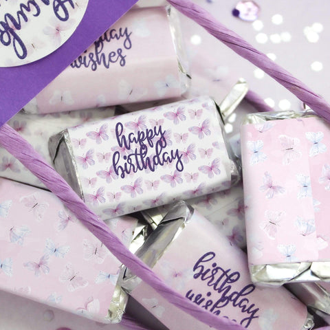 Butterfly Birthday Mini Candy Bar Wrappers - Purple Butterfly Wishes - 45 Stickers