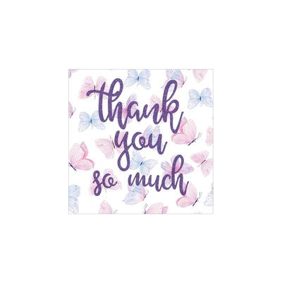 Butterfly Thank You So Much Square Stickers - Purple Butterfly Wishes - 48 Labels