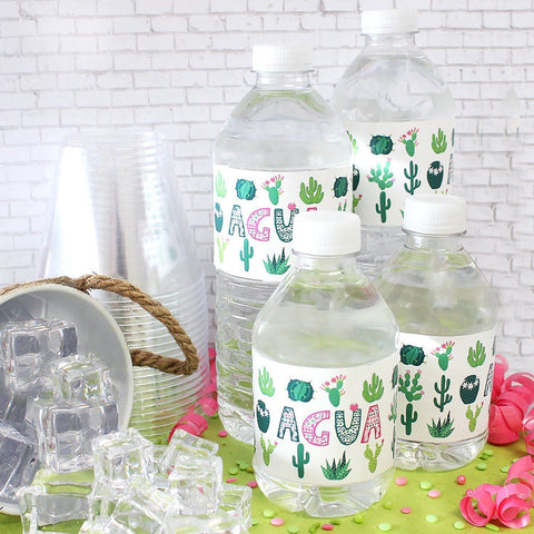 Cactus Party Water Bottle Labels - 24 Stickers