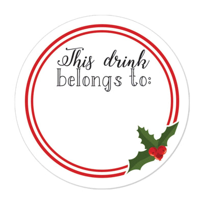 Christmas Drink Name Tag Stickers - 40 Count