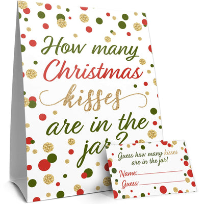 Christmas Party How Many Kisses Game - Standing Sign and 30 Cards