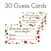 Extra Guess Cards Christmas Party How Many Kisses Game - Standing Sign and 30 Cards