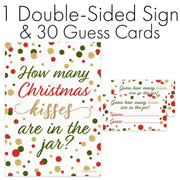 Sign with Cards Christmas Party How Many Kisses Game - Standing Sign and 30 Cards