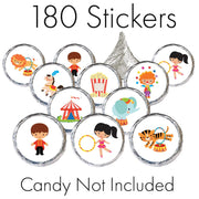 Circus Carnival Party Stickers - 180 Count