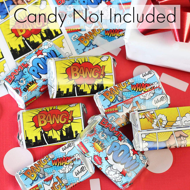 Comic Book Superhero Party Mini Candy Bar Stickers - 45 Count