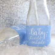 Copy of Blue Little Snowflake Winter Baby Shower Mini Candy Bar Wrappers - Baby It's Cold Outside - 45 Stickers