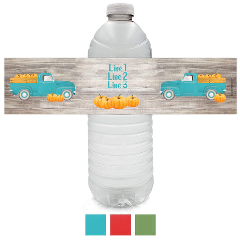 Custom Autumn Fall Festival Water Bottle Labels - 12 Stickers