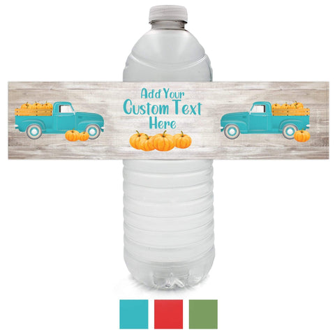 Fall Blue Custom Autumn Fall Festival Water Bottle Labels - 12 Stickers