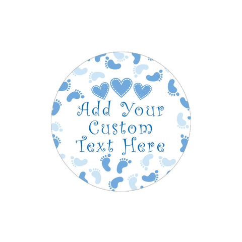 Custom Blue Boy Baby Shower Favor Labels - 40 Stickers