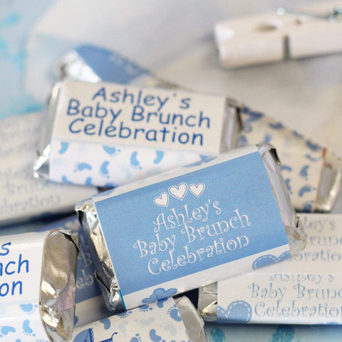 Custom Blue Boy Baby Shower Mini Candy Bar Labels - 15 Stickers