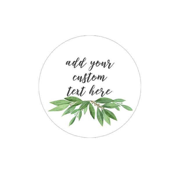 Custom Greenery Favor Labels - 40 Stickers