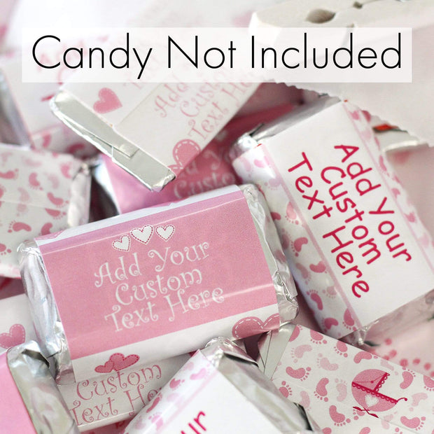 Custom Pink Girl Baby Shower Mini Candy Bar Labels - 45 Stickers