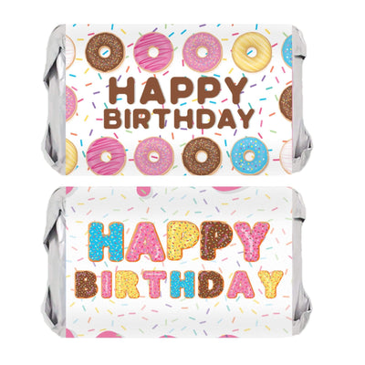 Donut Birthday Mini Candy Bar Labels - 45 Stickers