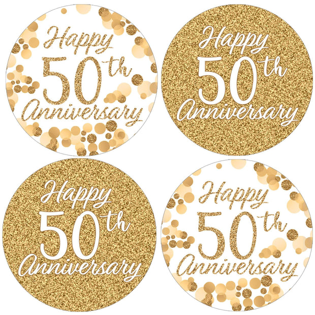 Gold 50th Anniversary Party Round Labels - 40 Stickers