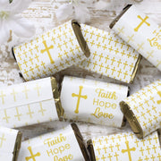 Gold Cross Baptism Mini Candy Bar Labels - 45 Stickers