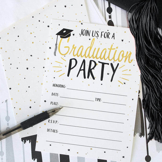 White, Black, and Gold Graduation Party Invitation Cards with Envelopes - 25 Count