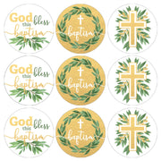 Greenery Baptism Favor Stickers - 180 Count