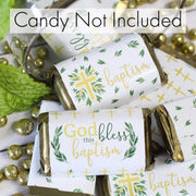 Greenery Baptism Mini Candy Bar Labels - 45 Stickers