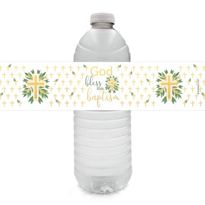 Greenery Baptism Water Bottle Labels - 24 Stickers