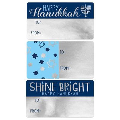 Hanukkah Gift Tag Metallic Foil Stickers - 75 Count