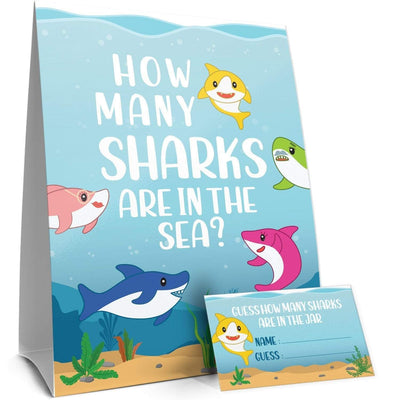 How Many Candy Sharks Party Game - Standing Sign and 30 Guessing Cards