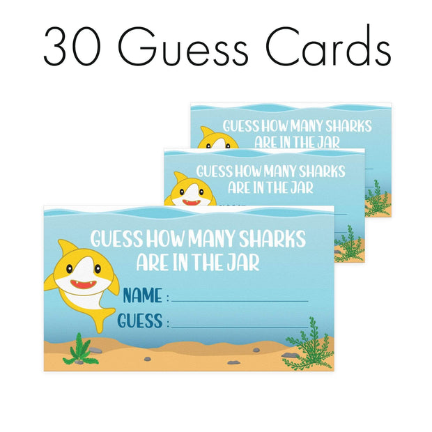 Extra Guess Cards How Many Candy Sharks Party Game - Standing Sign and 30 Guessing Cards