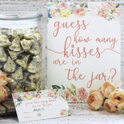 How Many Kisses in the Jar Floral Party Game