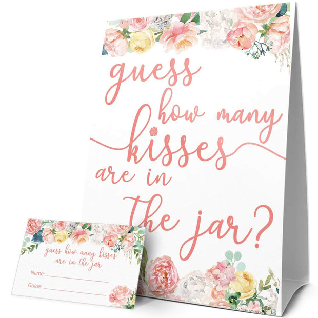 Sign with Cards How Many Kisses in the Jar Floral Party Game