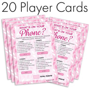 It's a Girl - What's On Your Phone - Baby Shower Game Cards (20 Count)