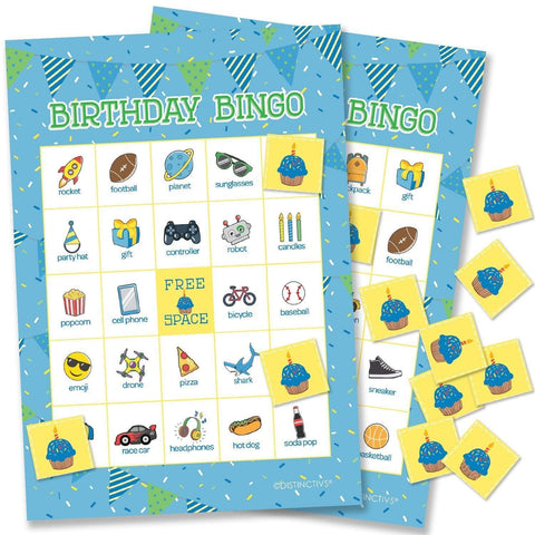 Kids Birthday Party Bingo Game for Boys - 24 Players