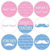 Lashes or Staches Gender Reveal Party Favor Stickers | 180 Count